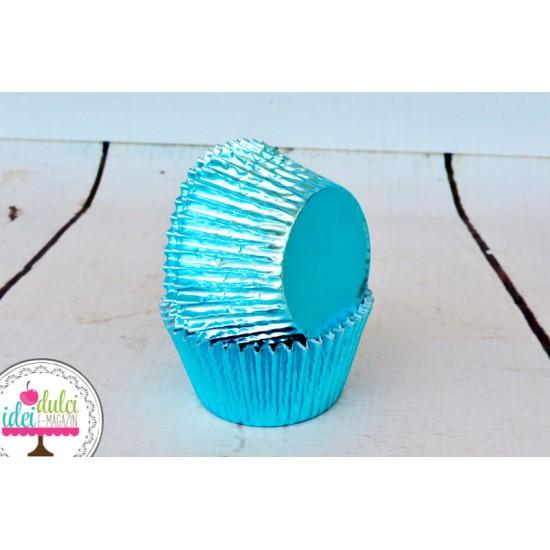 Cupe Cupcakes Bleu Metalic x 24buc