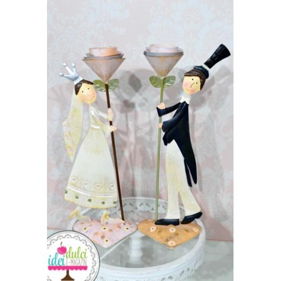 Figurine Metal Mire & Mireasa cu Flori