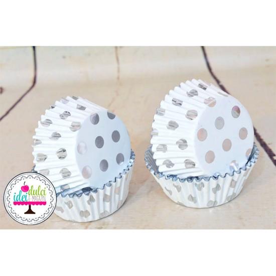Cupe Cupcakes Folie Buline Argintiii x 30buc