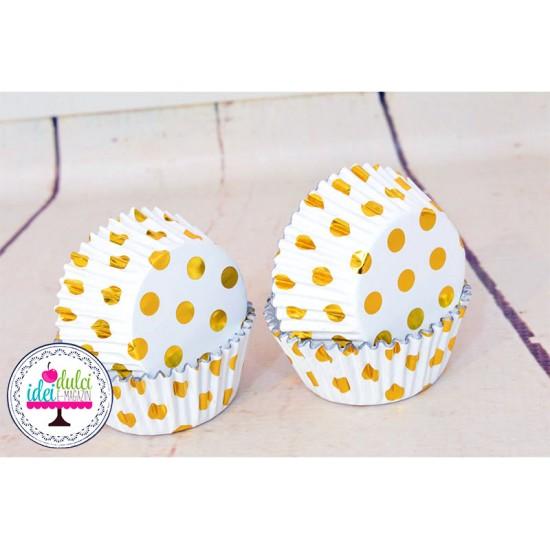 Cupe Cupcakes Folie Buline Aurii x 30buc