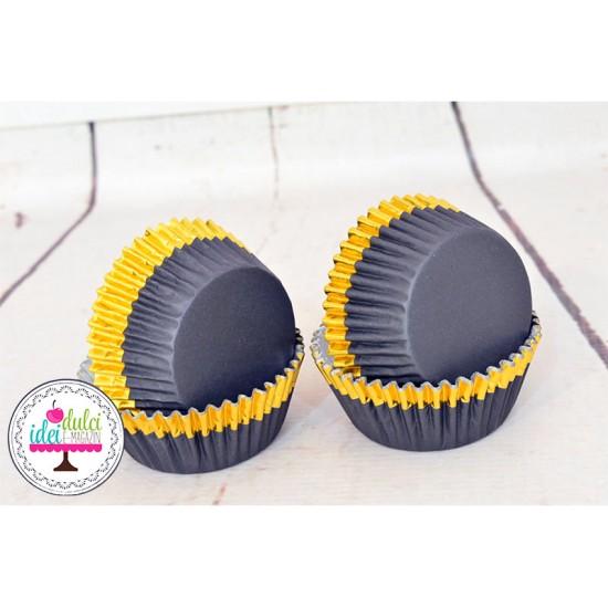 Cupe Cupcakes Folie Mix Negru&Auriu x 30buc