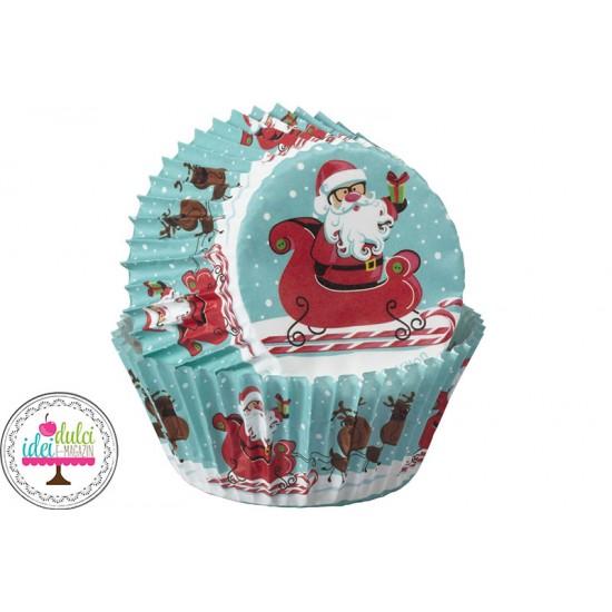Cupe Cupcakes Mos Craciun Sanie x 75buc