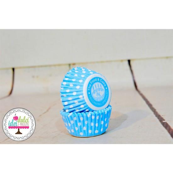 Mini Cupe Cupcakes Bleu cu Buline x 50buc