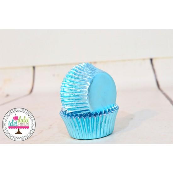 Mini Cupe Cupcakes Bleu Metalic  x36