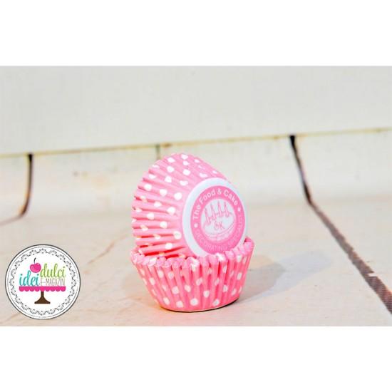 Mini Cupe Cupcakes Roz cu Buline x 50buc