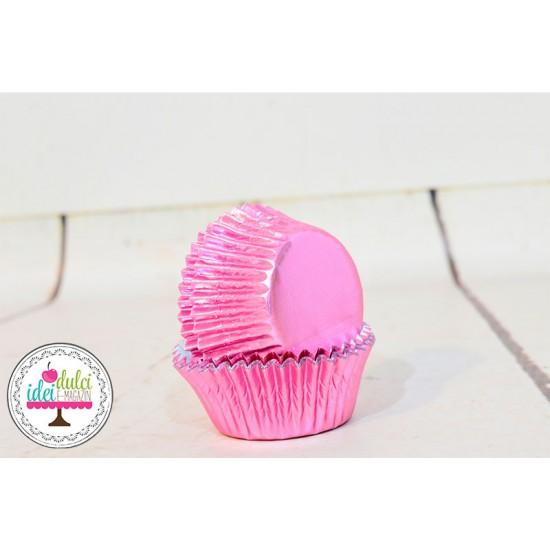 Mini Cupe Cupcakes Roz Metalic x 36buc