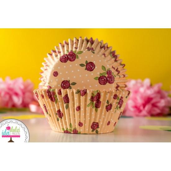 Cupe Cupcakes Mari Trandafiri x 40buc