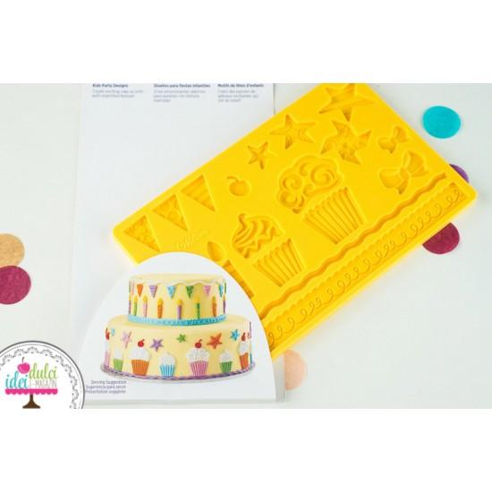 Mulaj din silicon pentru fondant, marţipan sau pastă din zahăr – model petrecere copii