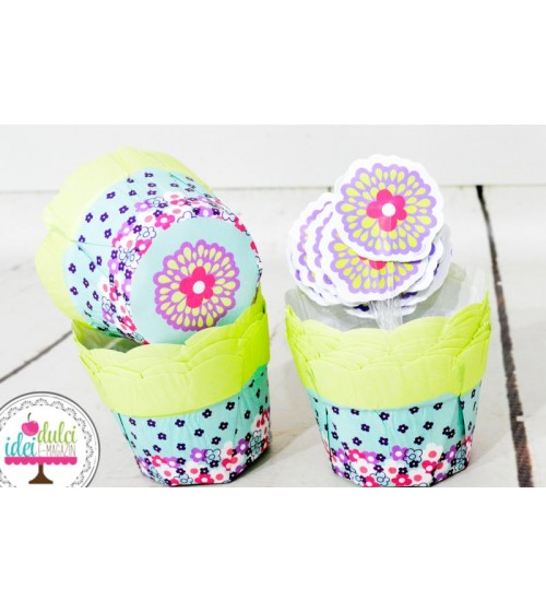 Cupe Cupcakes Bujor Cu Toppers Set x 12
