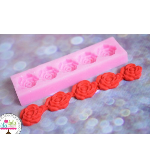 Mulaj silicon 5 trandafiri